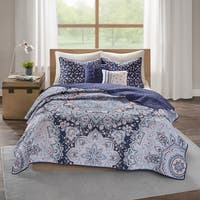 Intelligent Design Skye Blue Boho 5-piece Coverlet Set