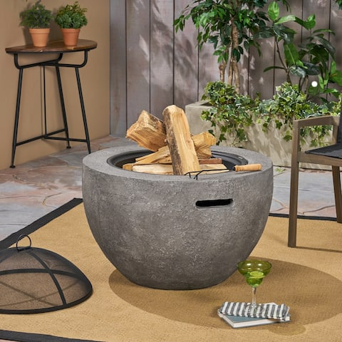 Riley Outdoor 32-Inch Wood Burning Light-Weight Concrete Round Fire Pit by Christopher Knight Home