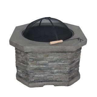 Destiny Outdoor 32-Inch Wood Burning Light-Weight Concrete Octagon Fire Pit by Christopher Knight Home