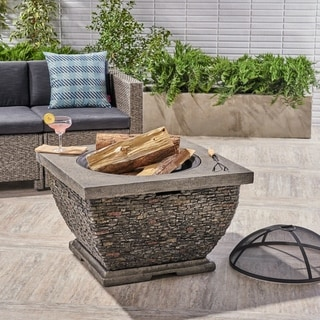 Mia Outdoor 32-Inch Wood Burning Light-Weight Concrete Square Fire Pit by Christopher Knight Home