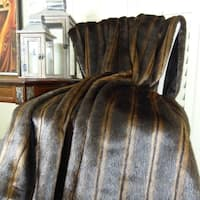 Thomas Collection Light And Dark Brown Mink Faux Fur Throw Blanket, Handmade in USA, 16424T