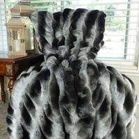 Thomas Collection Gray Black Tissavel Char Pei Faux Fur Throw Blanket, Handmade in USA, 16451T