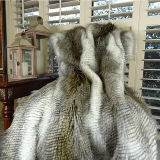 Thomas Collection White Gray Beige Alaskan Hawk Faux Fur Throw Blanket, Handmade in USA, 16408T
