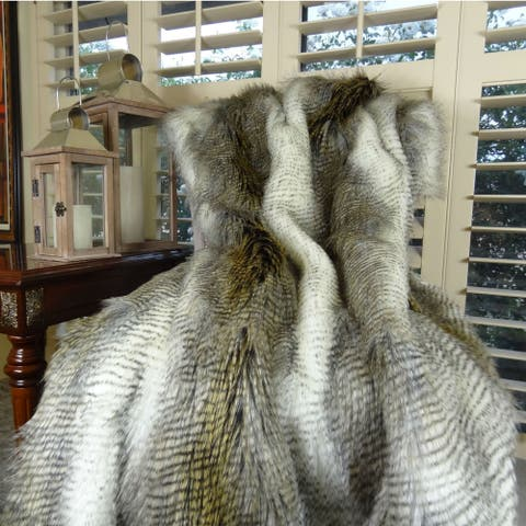 Thomas Collection White Gray Beige Alaskan Hawk Faux Fur Throw Blanket, Handmade in USA, 16408T