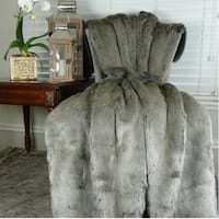 Thomas Collection Luxury Tissavel Two Tone Gray Silver Faux Fur Throw, Handmade in USA, 16442T