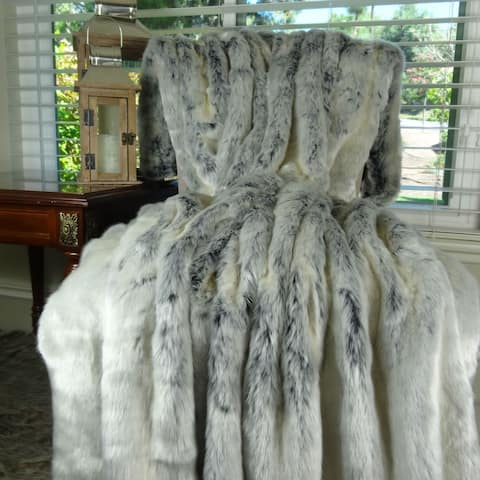 Thomas Collection Luxury White Ice-Blue Tissavel Faux Fur Throw Blanket, Handmade in USA, 16452T