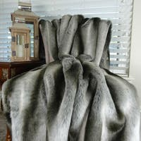 Thomas Collection Luxury Gray Silver Chinchilla Faux Fur Throw Blanket, Handmade in USA, 16430T
