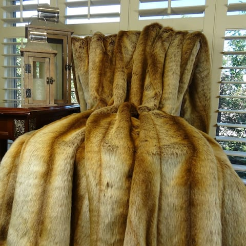 Thomas Collection Gold Beige Brown Chinchilla Faux Fur Throw Blanket, Handmade in USA, 16418T