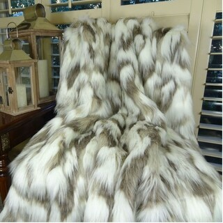 Thomas Collection Ivory Beige Gray Fox Faux Fur Throw Blanket, Handmade in USA, 16405T