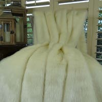 Thomas Collection White Ivory Mink Faux Fur Throw Blanket, Handmade in USA, 16414T