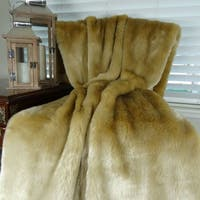 Thomas Collection Luxury Tissavel Taupe Faux Fur Throw Blanket, Handmade in USA, 16443T