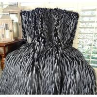 Thomas Collection Black White Faux Fur Throw Blanket, Handmade in USA, 16417T