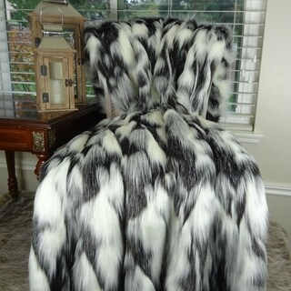 Thomas Collection Gray Black White Fox Faux Fur Throw Blanket, Handmade in USA, 16438T
