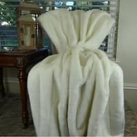 Thomas Collection White Grooved Mink Faux Fur Throw Blanket, Handmade in USA, 16420T