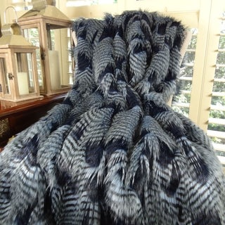 Thomas Collection Light Blue Dark Navy Feather Throw Blanket, Handmade in USA, 16412T