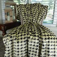 Thomas Collection Luxury Black Beige Houndstooth Faux Fur Throw Blanket, Handmade in USA, 16486T
