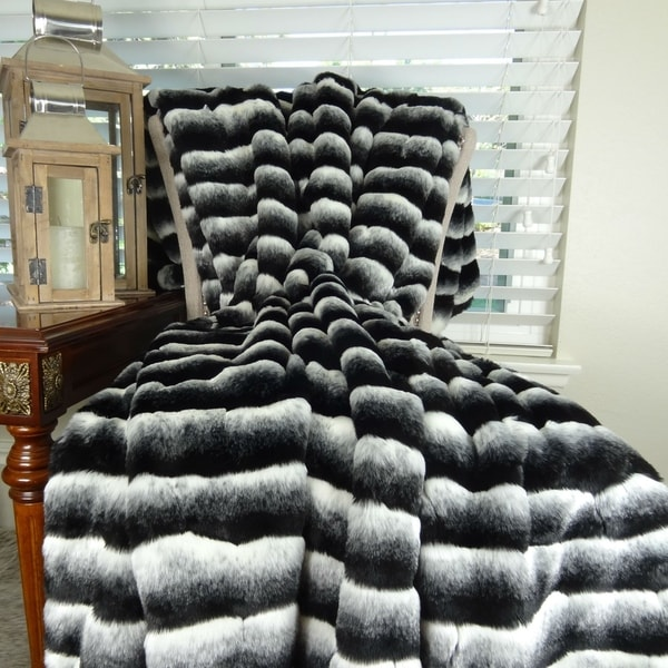 Thomas Collection Black Gray White Chinchilla Faux Fur Throw Blanket,  Handmade In USA, 16432T