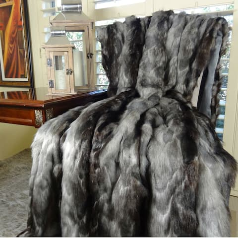 Thomas Collection Gray Charcoal Black Fox Faux Fur Throw Blanket, Handmade in USA, 16419T
