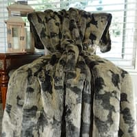 Thomas Collection Luxury Taupe and Black Faux Fur Throw Blanket, Handmade in USA, 16485T