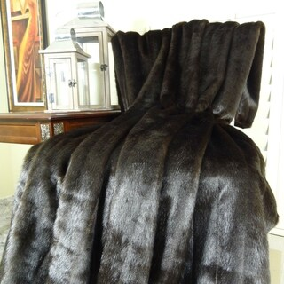 Thomas Collection Dark Brown Mink Faux Fur Throw Blanket, Handmade in USA, 16425T