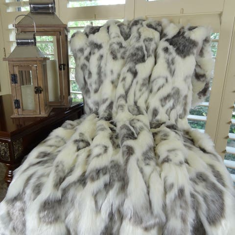 Thomas Collection Ivory Gray Rabbit Faux Fur Throw Blanket, Handmade in USA, 16428T
