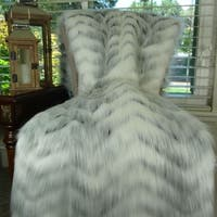 Thomas Collection Soft Gray White Fox Faux Fur Throw Blanket, Handmade in USA, 16483T
