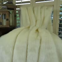 Thomas Collection White Ivory Mink Faux Fur Throw Blanket, Handmade in USA, 16414B