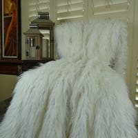 Thomas Collection White Curly Mongolian Faux Fur Throw Blanket, Handmade in USA, 16421B