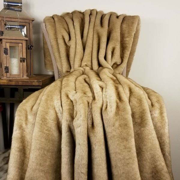 Thomas Collection Luxury Sable Beige Mink Faux Fur Throw Blanket, Handmade in USA, 16427B