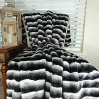 Thomas Collection Black Gray White Chinchilla Faux Fur Throw Blanket, Handmade in USA, 16432B