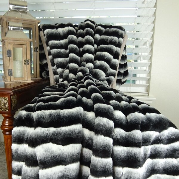 Thomas Collection Black Gray White Chinchilla Faux Fur Throw Blanket, Handmade in USA, 16432B