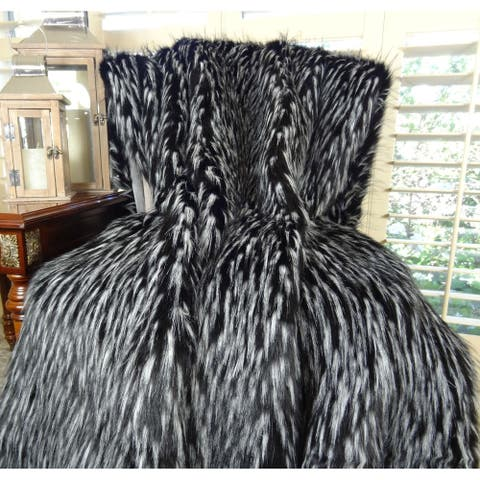 Thomas Collection Black White Faux Fur Throw Blanket, Handmade in USA, 16417B