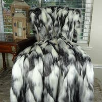 Thomas Collection Gray Black White Fox Faux Fur Throw Blanket, Handmade in USA, 16438B