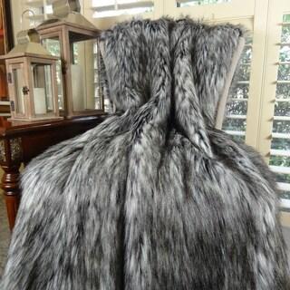 Thomas Collection Gray White Black Siberian Husky Faux Fur Throw Blanket, Handmade in USA, 16411B