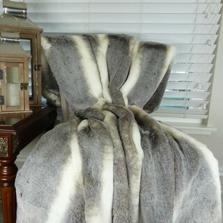 Thomas Collection Luxury Tissavel Gray Cream Chinchilla Faux Fur Throw, Handmade in USA, 16444B