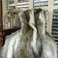 Thomas Collection White Gray Beige Alaskan Hawk Faux Fur Throw Blanket, Handmade in USA, 16408B