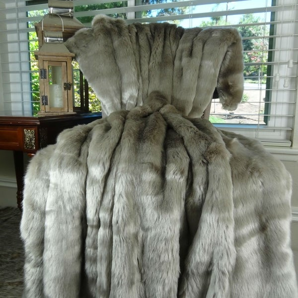 Thomas Collection Luxury Tissavel Gunmetal Gray Faux Fur Throw Blanket, Handmade in USA, 16440B