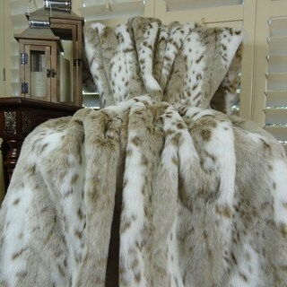 Thomas Collection White Taupe Brown Leopard Faux Fur Throw Blanket, Handmade in USA, 16431B
