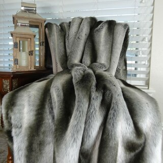 Thomas Collection Luxury Gray Silver Chinchilla Faux Fur Throw Blanket, Handmade in USA, 16430B