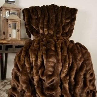 Thomas Collection Brown Tissavel Char-pei Chinchilla Faux Fur Blanke, Handmade in USA, 16455B