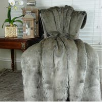 Thomas Collection Luxury Tissavel Two Tone Gray Silver Faux Fur Throw, Handmade in USA, 16442B