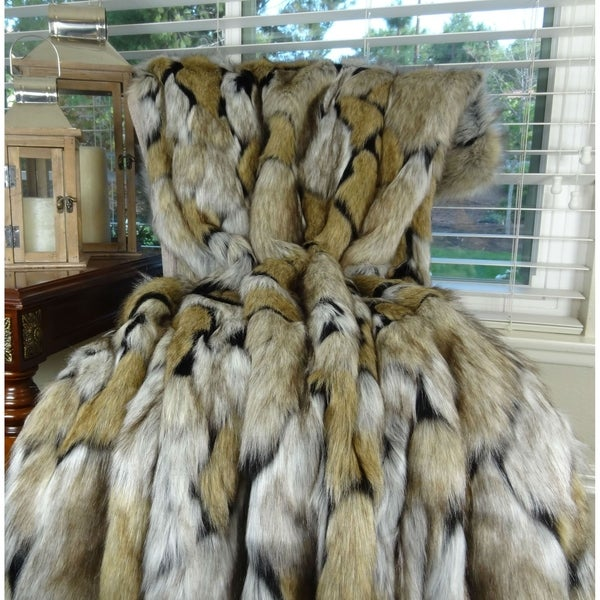 Thomas Collection Taupe Black Ivory Fox Faux Fur Throw Blanket, Handmade in USA, 16484B