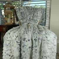 Thomas Collection Luxury Gray White Tissavel Faux Fur Throw Blanket, Handmade in USA, 16448B