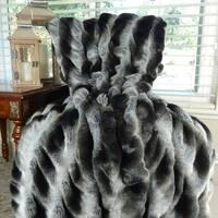 Thomas Collection Gray Black Tissavel Char Pei Faux Fur Throw Blanket, Handmade in USA, 16451B