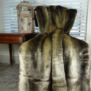 Thomas Collection Luxury Tissavel Bronze Brown Rabbit Faux Fur Throw, Handmade in USA, 16446B