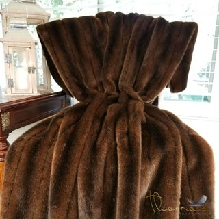 Thomas Collection Luxury Brown Tissavel Mink Faux Fur Throw Blanket, Handmade in USA, 16456B (More options available)