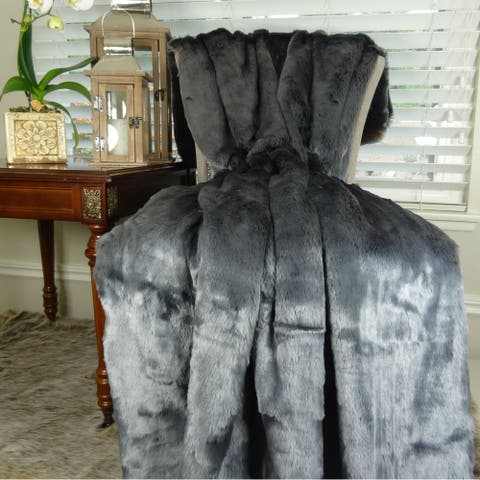Thomas Collection Luxury Tissavel Blue Amber Faux Fur Throw Blanket, Handmade in USA, 16441B
