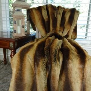 Thomas Collection Brown Tissavel Chinchilla Faux Fur Throw Blanket, Handmade in USA, 16453B
