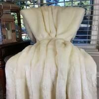 Thomas Collection Luxury White Tissavel Mink Faux Fur Throw Blanket, Handmade in USA, 16457B