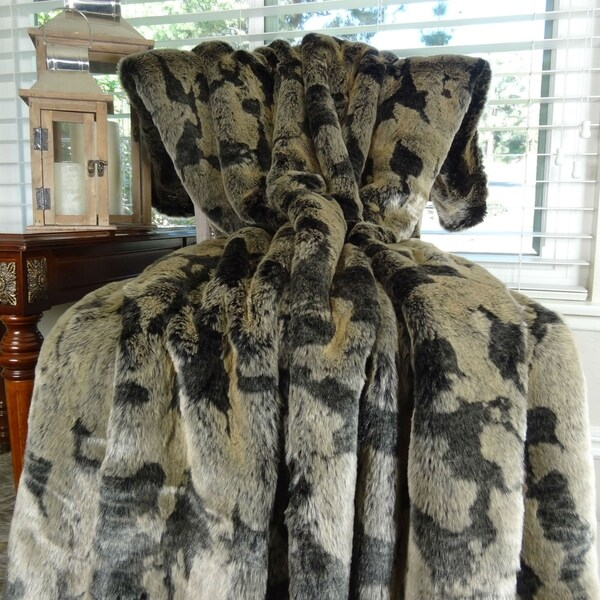Thomas Collection Luxury Taupe and Black Faux Fur Throw Blanket, Handmade in USA, 16485B